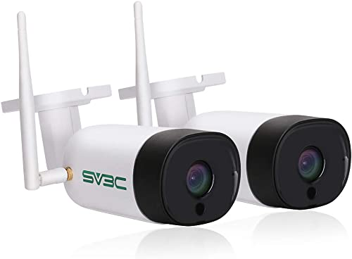 2 Pack, SV3C Outdoor 5MP WiFi Wireless Security Camera, Super HD 5 Megapixels Night Vision Home Cameras, Waterproof IP Camera, Two Way Audio, Motion Alert, Remote Access, Support Max 128GB TF Card
