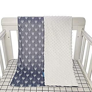 Baby Crib Blanket for boy Girl, Soft Plush Minky Double Layer Dotted Backing, Newborn Bed Security Blanket, Arrow Printing throw, 30 x 40 inch, Comfy Receiving Blankets Fleece toddler Blanket