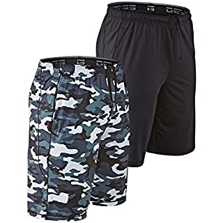 DEVOPS Men's 10-inch Athletic Workout Basketball Shorts with Pockets (Pack of 2) (X-Large, Black/Camo Gray)