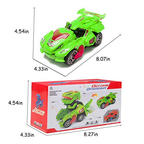 Transforming Dinosaur Toys, Automatic Transforming Dinosaur Car with LED Light and Music, Dino Race Car Toys Kids Gift for Holiday Christmas Birthday Party (Green)