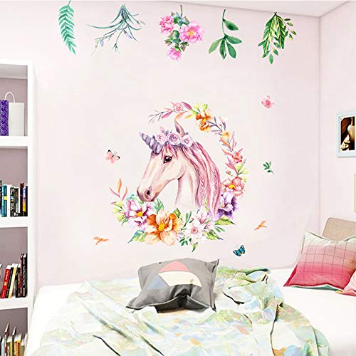 Non Toxic Unicorn Wall Decal Sticker Vinyl Girls Bedroom Wall Décor Removable Baby Room Wall Mural Sticker Unicorn Gift for Birthday Party Favors(Leaf)