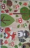 Woodland Animals Fall Harvest Vinyl Tablecloth with Flannel Backing (60 Round)