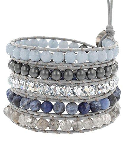 Chan Luu Blue Mixed Beaded Wrap Bracelet on Grey Leather