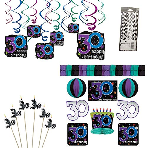 The Party Continues 30th Birthday Party Decorations Party Supplies Pack: Straws, Candles on a Stick, Hanging Swirls, and Decorating -