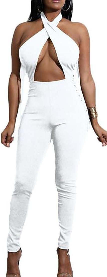 PCT Womens Comfy Cut Out Backless Bandage Club Lace Up Jumpsuit