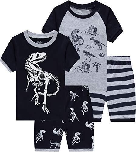 Dinosaur Pajamas for Boys Toddler Kids Grow in The Dark T-Rex 4 Pieces Short PJs Set 10t ()