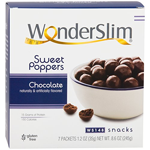 WonderSlim Low-Carb High Protein Sweet Poppers Snacks - Chocolate (7 Servings/Box) - Low Carb, Trans Fat Free, Gluten Free, Aspartame Free