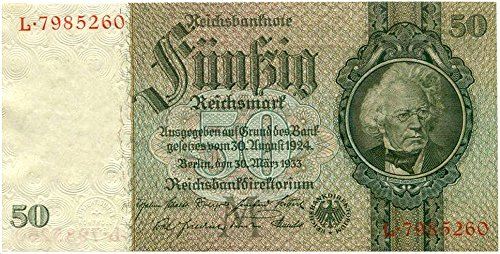 1933 DE EXCEPTIONAL LG NAZI 50 MARK NOTE w FAMED PRUSSIAN STATESMAN, ORNATE ENGRAVING, EMBOSSING, RARE WATERMARK - THE WORKS! 50 REICHSMARK SUPERB GEM CRISP UNCIRCULATED