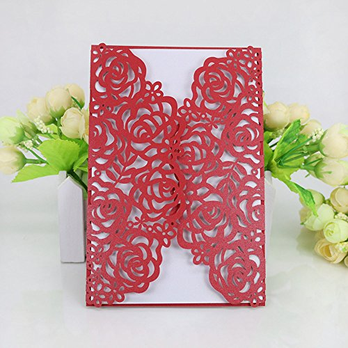 WOMHOPE® 50 Pcs - Large Rose Hollow Laser Cut Wedding Invitation Lace Shimmer Party Invitations Cards Birthday Invitations Cards Wedding Favors (Red (White inner (Rose Wedding Invitation)