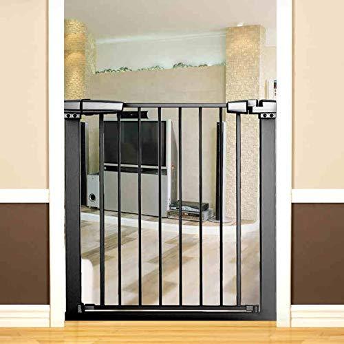 ZAQ Retractable Pet Gate, Extra Wide Baby Gate with Cat Door, Indoor Metal Black Pressure Mounted Dog Gates, 76-173cm Wide (Size : Width 121-128cm)