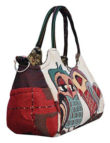 Magnifica borsetta importata da Tailandia, multicolore, motivi Gufi (42242)
