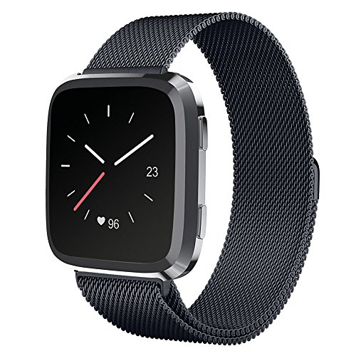 UMTELE For Fitbit Versa Band, Milanese Loop Stainless Steel Wristband Metal Mesh Strap with Unique Magnet Closure for Fitbit Versa