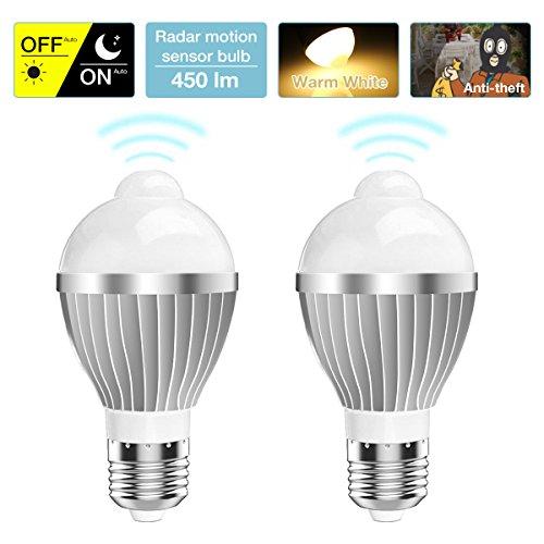 - Motion Sensor Light Bulb, 2 Pack 5W Smart LED Bulbs PIR Detector Bulbs, E26 Base Indoor Sensor Night Light 3000K Warm White 85~265V for Stairs Corridor Basement Garage Porch Hallway Yard by KINGSO
