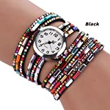 Lantusi Boho Synthetic Leather Rhinestone Deco Quartz Bracelet Wrist Watch for Women 5 Colors