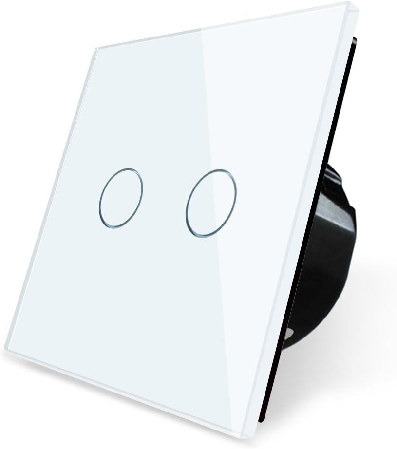 BSEED Interrupteur de lampe de mur compatible avec variateur tactile /à panneau de verre 1 Gang 1 Voie Noir
