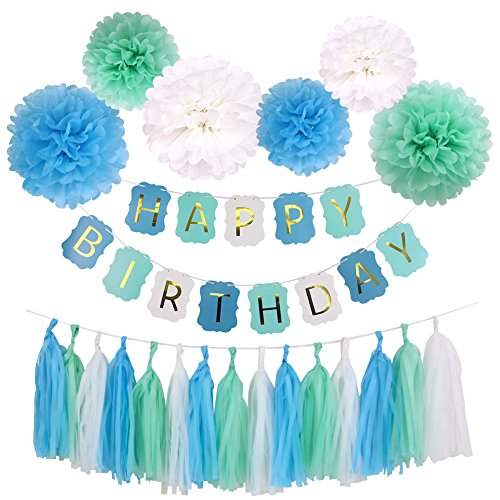 Simla Decor Blue And Mint Green Happy Birthday Decoration Set For Baby Boys Kids Party Favor Including Birthday Banner With 6pcs Tissue Paper Pom Pom Flower And 15pcs Paper Tassel]()