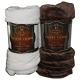 Hotel Collection Ivory White or Chocolate Brown Luxurious Softness Velvety Throw (Ivory White)