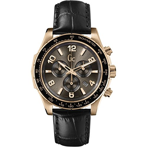 Guess Collection TechnoSport X51001G1S 44mm Gold Plated Stainless Steel Case Black Calfskin Synthetic Sapphire Men's Watch