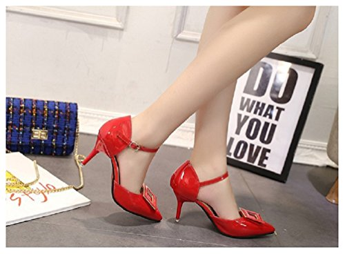 Hanxue Sexy Red Womens Sandals High Toe Heel Closed Dress 5r5q8O