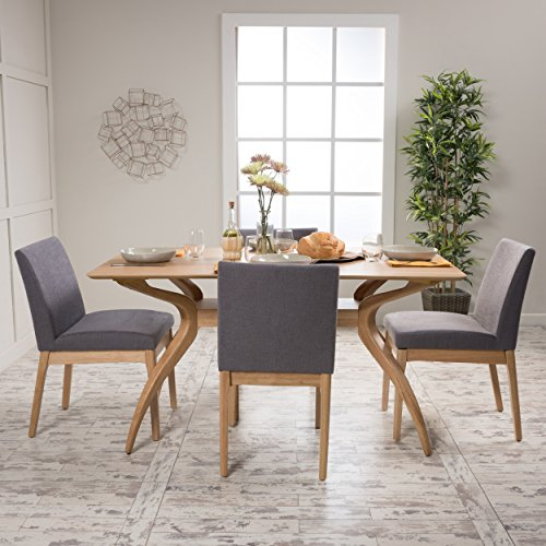 Katherine Dark Grey Fabric/ Natural Oak Finish 5 Pc Dining Set