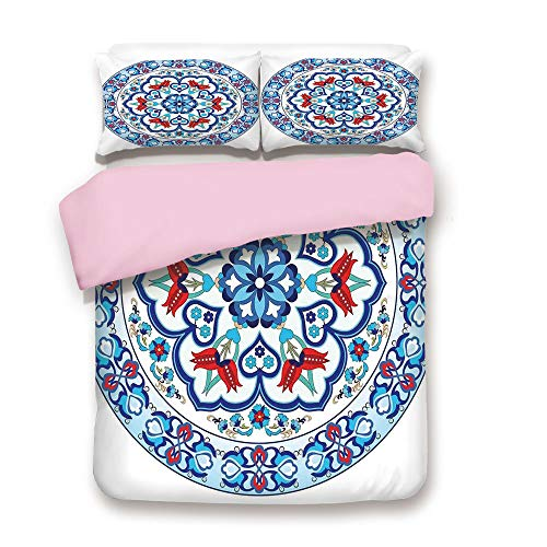 Pink Duvet Cover Set,Queen Size,Ottoman Turkish Style Art with Tulip Period Ceramic Floral Art Elements European Touch Print,Decorative 3 Piece Bedding Set with 2 Pillow Sham,Best Gift For Girls Women -