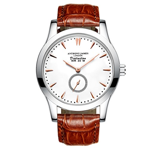 New Designer Anthony James White Distinction Men's Smart Dress Watch - Large Dial Brown Genuine Leather Strap Precise Quartz Wrist Watches
