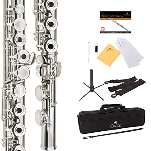 Cecilio Premium Silver Plated Open Hole C Flute with Italian Pads Includes Stand