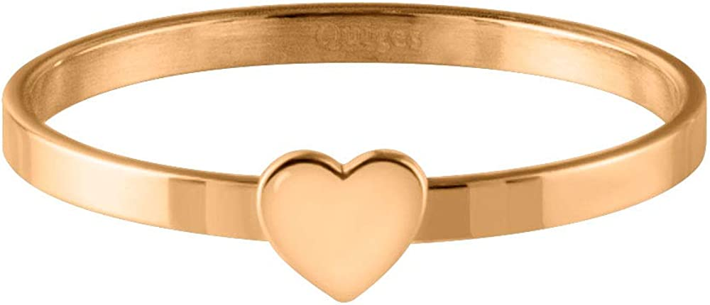 Quiges Stainless Steel Rose Gold Single Heart Band Inner Ring 2mm Height for Stackable Ring