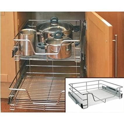 Kitchen Cabinet Cupboard Pull Out Wire Storage Basket Drawer Rack