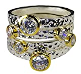 3mm-12mm Sterling Silver Four Hammered Diamond-Cut Band Stackable Handset Solitaire Clear Crystal CZ Ring Set 5-9 (5) (9)