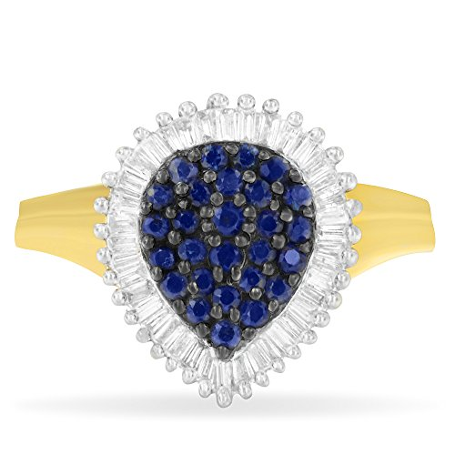 Original Classics 10K Yellow Gold Blue Sapphire Gemstone and Diamond Cluster Ring (1 cttw, H-I Color, SI1-SI2 Clarity)