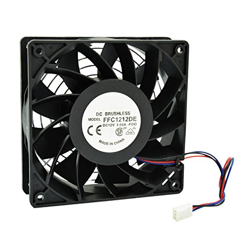 (HIGHFINE 12cm 120mm 200CFM 4000RPM CPU Cooling Fan FFC1212DE 12V DC 3-Pin 3-Wire PC Computer High CFM Cooling Case Fan with Metal Finger Guard Grill)