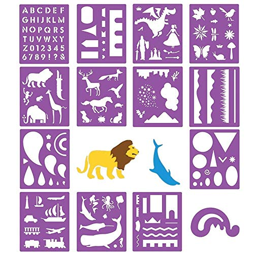 14 Pack Plastic Stencils Templates Set Craft Educational Toys for Kids - Over 150 Patterns Painting Stencils Templates for Children