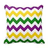 Bigdream Mardi Gras Chevron Pattern Pillow Decorative Throw Pillowcase Cushion Case 16 X 16