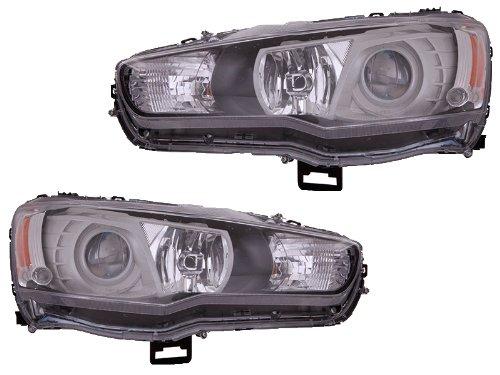 Mitsubishi Lancer Evolution 09-11 Projector Jdm Black Halogen Headlight Lamp Set - Jdm Style Headlights