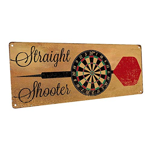 Homebody Accents Straight Shooter Bulls Eye Metal Sign, Darts, Game Room, Mancave, Den