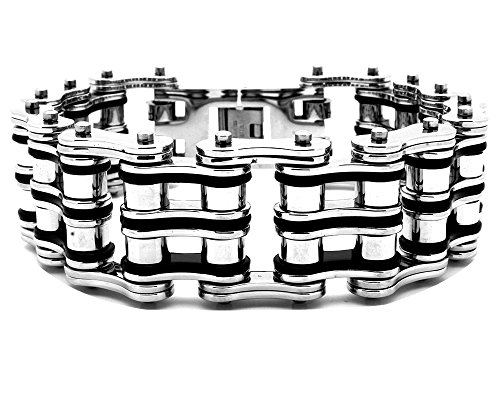 B and S Jewelry Stainless Steel 25mm Extra Wide Bicycle Biker Link Chain Bracelet 8.5 inches Long
