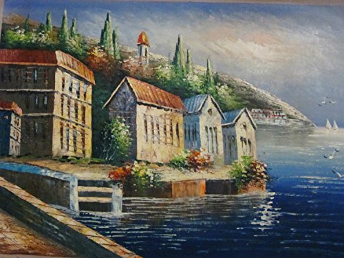 100% Genuine Real Hand Painted Mediterranean Scenes Village Seascape Canvas Oil Painting for Home Wall Art Decoration, Not a Print/ Giclee/ Poster
