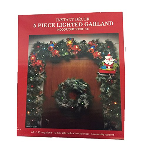 Impact Innovations Shimmering Santa Claus/Reindeer Christmas Light Garland with 10 Clear Mini Lights and White Wire, 6'