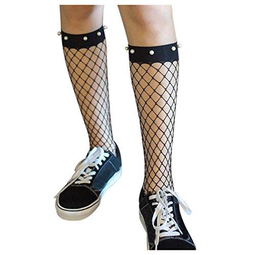 Women Fishnet Socks, Inkach Women Ruffle Fishnet Ankle High Socks Mesh Lace Short Fish Net Socks C