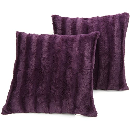 Cheer Collection Set of 2 Decorative Throw Pillows - Reversible Faux Fur to Microplush Accent Pillows - 18