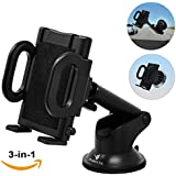 iProductsUS Phone Holder for Car, Universal Car Phone Mount, Hands Free Windshield Dashboard and Air Vent Car Cradle Mount for iPhone Samsung LG HTC All of The Smartphones and GPS Devices (Black)