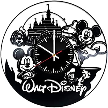 Mickey Mouse Disney Vinyl Clock - Walt Disney Mickey and Minnie Mouse Vinyl Records Wall Art Room Decor Handmade Decoration Party Supplies Theme Stuff ...