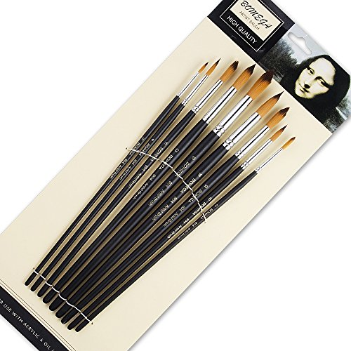 (9 Pieces Artist Paint Brushes Nylon Round Point Long Handle Value Set for Oils, Acrylic, Gouache & Watercolor Painting-Lightwish (Round)