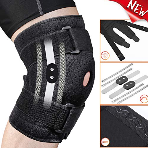 Fyore Hinged Knee Brace with 4 Straps & 4 Springs,Adjustable Open Patella Support for Arthritis,ACL,LCL,MCL,Sports Exercise,Meniscus Tear,Compression Knee Braces Non-Slip Fit for Running,Women,Men