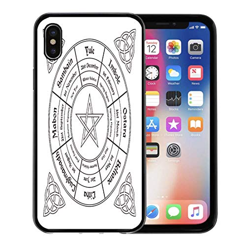 - Semtomn Phone Case for Apple iPhone Xs case,Festival Wheel of The Year Wiccan Calendar Pagan Altar Annual Autumn for iPhone X Case,Rubber Border Protective Case,Black