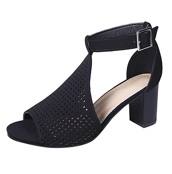 a6474a226 Women Low Heel Pump Shoes Ankle Strap Block Heel Peep Toe Cut Out Roman  Breatherable Sandals