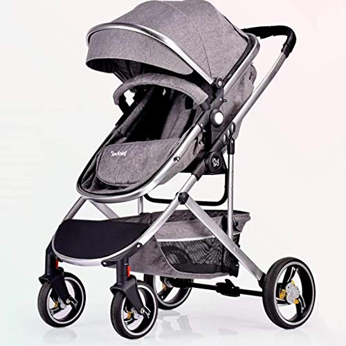 High Landscape Baby Stroller Multi-Function Visible Sunroof Two-Way Adjustable Can Sit/Reclining Trolley Four-Wheel Damping One-Handed Car Suitable for 0-3 Years Old,Gray
