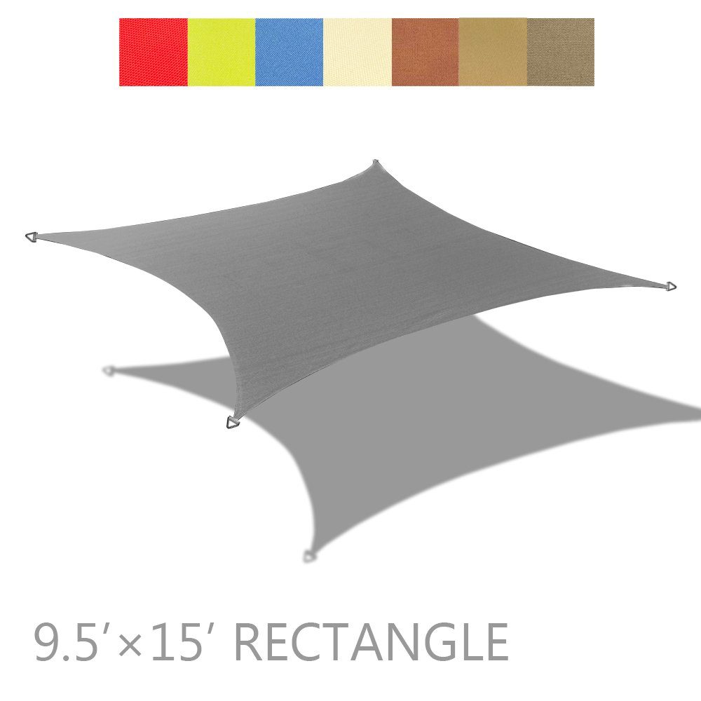 Alion Home 9.5' x 15' Rectangle PU Waterproof Woven Sun Shade Sail (1, Grey) by Alion Home