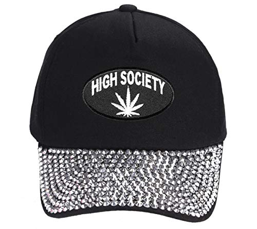 (High Society Hat - Adjustable Women's Cap (Rhinestone Studded) Marijuana Cannabis Pot Leaf)